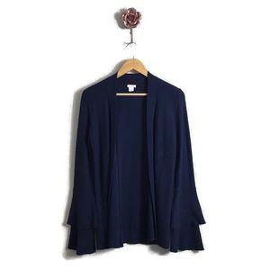 J Crew Tiered Ruffle Sleeve Navy Cardigan Sweater